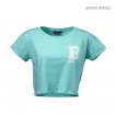 Cropped Tee, Light Aqua