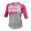 Womens Baseball Tee, Grey Melange Pink